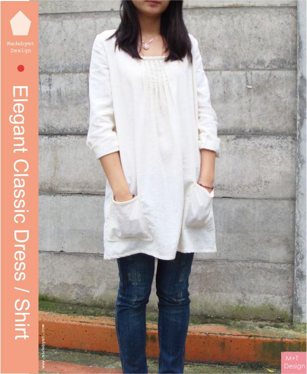 Elegant classic, Japanese style linen Dress / Shirt digital sewing ...