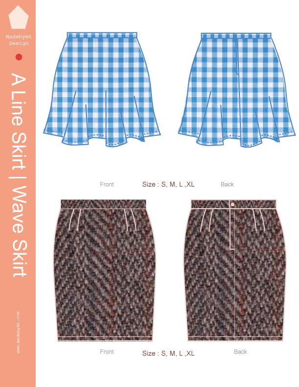 classic a line skirt wave skirt digital sewing pattern pdf